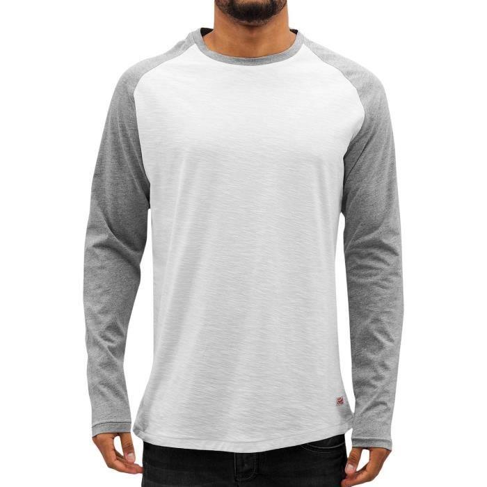 Jack   Jones Homme Hauts   T-Shirt manches longues jorNew Stan Blanc ... 92c59c38946d