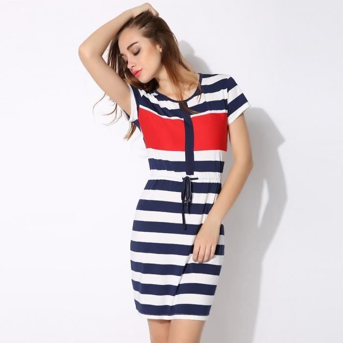 robe à rayures femmes élastique