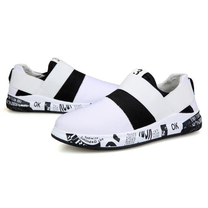 Homme Basket Sports Running Masculines Respirante Chaussures Blanc