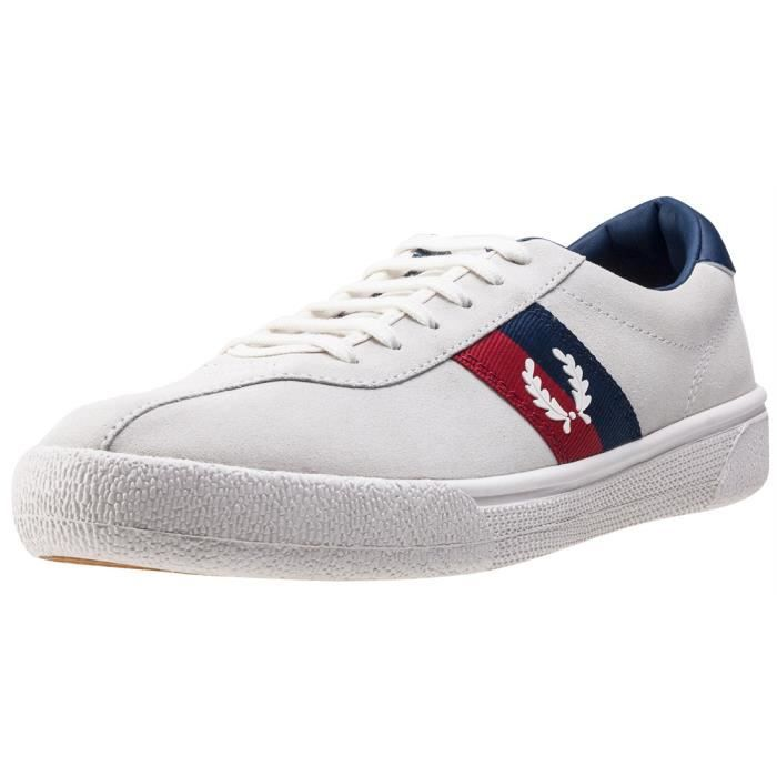Fred Perry B1 Sports Authentic Tennis Hommes Baskets Off White Navy - 10 UK