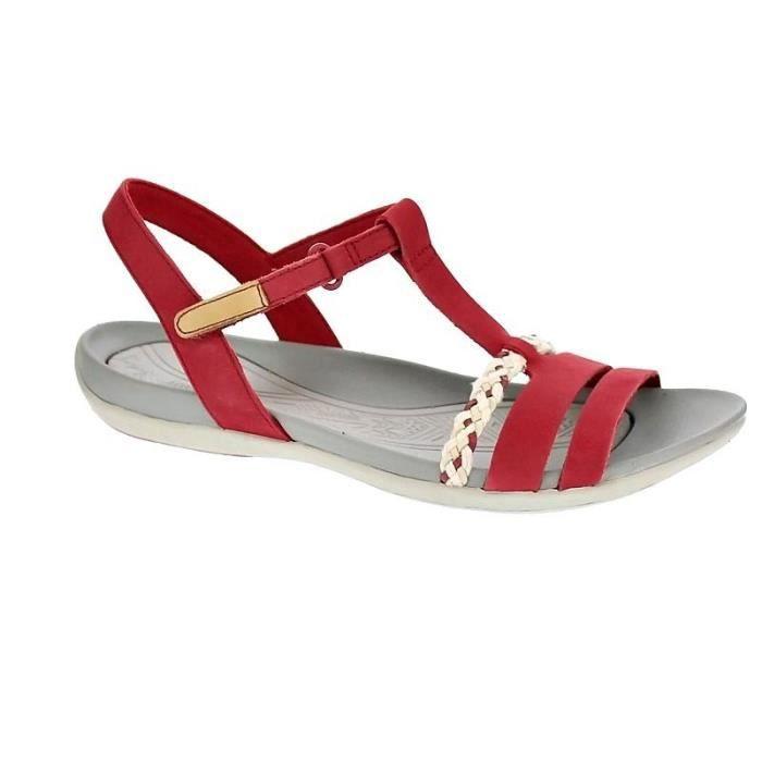 e51ccb55ca1e1 Chaussures Clarks Femme Sandales modèle Teallite Grace Rouge Rouge ...