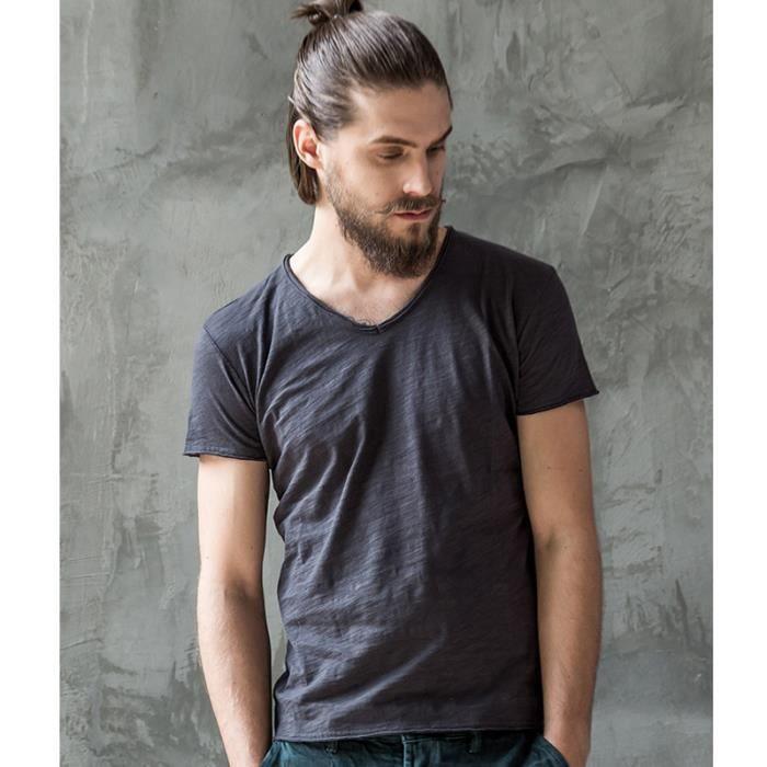 b13e2dcd8a46 été Tee Shirt Homme Noir Mode Coton V-cou Manche Court Pour Homme Marque  Luxe Style Simple Tshirts Hommes Multi-couleur Couleur Unie
