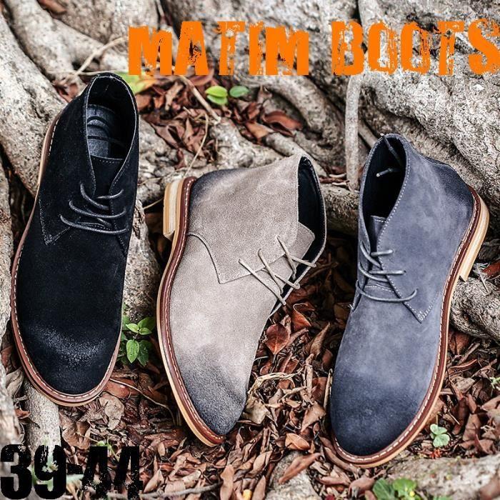 Bottes pour Hommele sable 42 Britannique Retro Martin d » homme du désert en cuir velours Chaussures Automne _4001