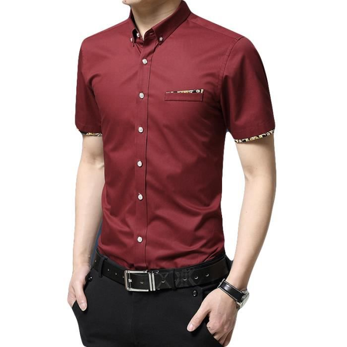 Coude Xeodrcb Chemise Gemo A Contrastes Rouge Empiecement b7gfYyv6