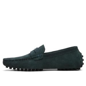 Mocassins Hommes Cuir Ultra Comfortable Appartements Chaussures DTG-XZ071Vert44
