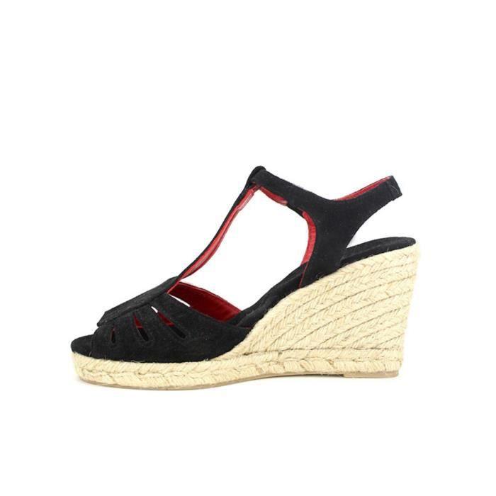 Cendriyon nu sandale pieds Femme Compensées Noir Chaussures wdvYxfOv