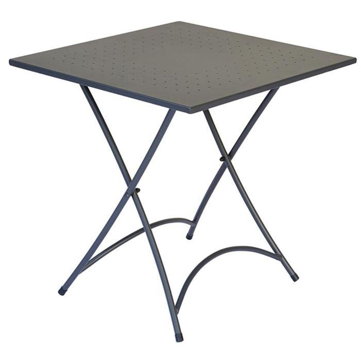 Table pliante en fer coloris gris 70 x 70 cm - A USAGE PROFESSIONNEL ...
