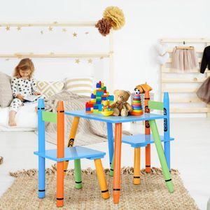 TABLE ET CHAISE Ensemble table et 2 chaises pour enfants en bois f