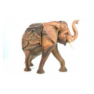 OBJET DÉCORATIF Grande Statue éléphant en bois H30cm. Pièce rare !