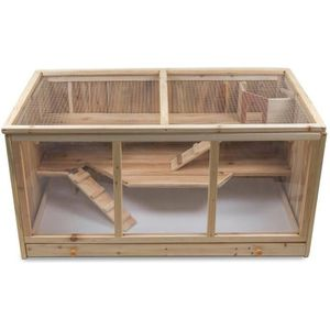 ACCESSOIRE ABRI ANIMAL Cage à hamsters en bois - Cage pour rongeurs avec
