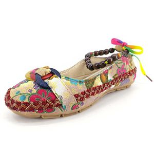 MOCASSIN Minetom Femmes Casual Perles Ethniques Bout Rond T