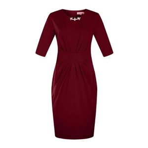 ROBE Robe Femme col rond slim fit mode Rouge SIMPLE FLA