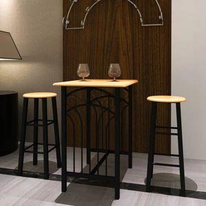 TABLE À MANGER COMPLÈTE Lot d'une table haute de bar avec 2 tabourets ''ph