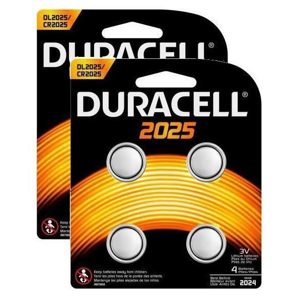 DURACELL 2 Packs de 4 Piles CR 2025