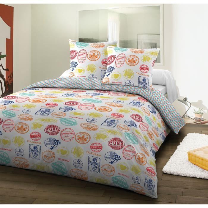 santens parure de couette coton madison 220x240 cm multico. Black Bedroom Furniture Sets. Home Design Ideas