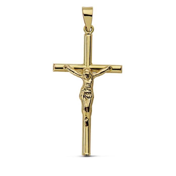 Croix pendentif 32mm 18k crucifix dor. creux [AA7242]