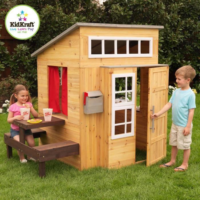 maison de jardin en bois pour enfant cabane de jardin moderne banc table achat vente. Black Bedroom Furniture Sets. Home Design Ideas