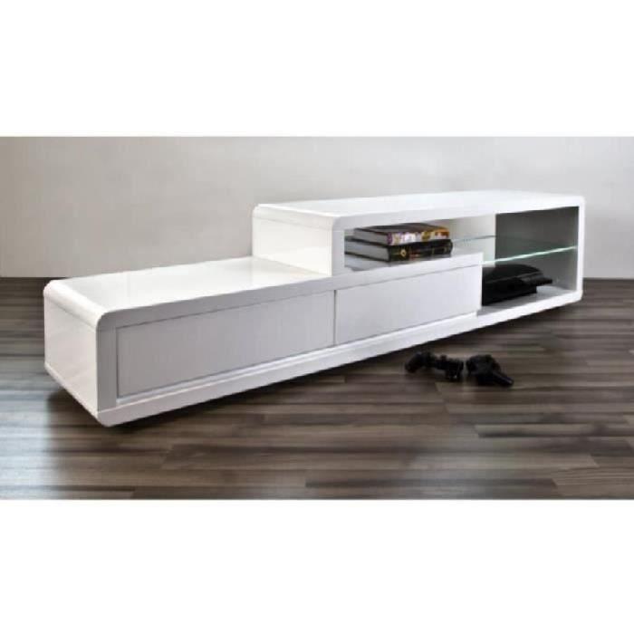 meuble tv meuble tv meuble de salon nels blanc laqu led - Meuble Tv Blanc Laque Led
