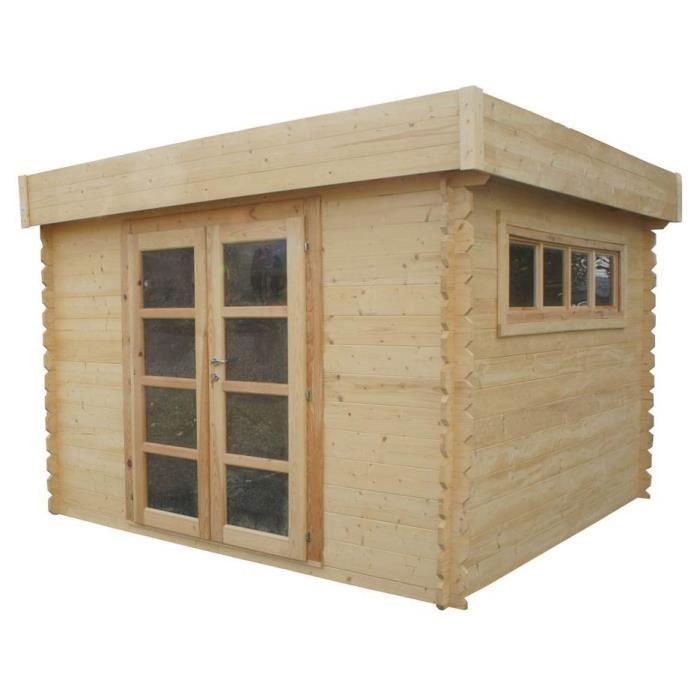 Chalet jardin abri de jardin en bois toit plat 3x3m - Abri de jardin en tole ...