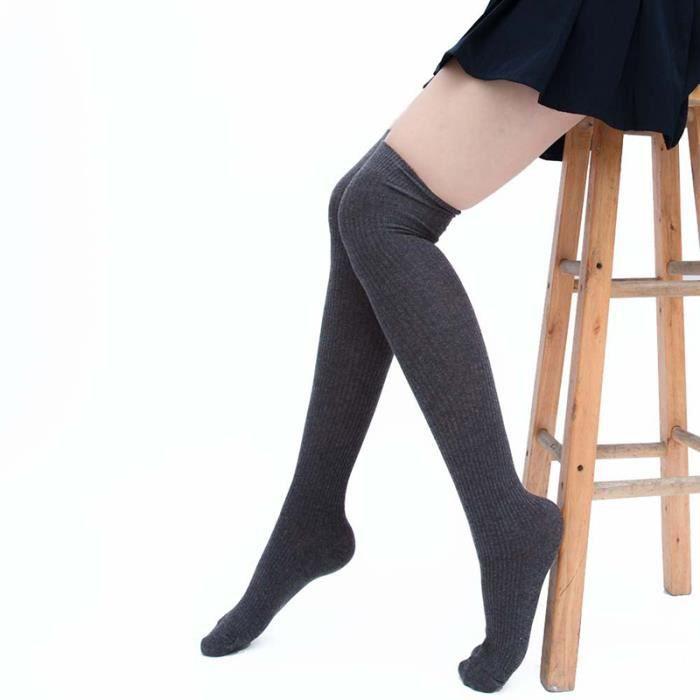 3da57054b91cc 1 Paire Chaussettes Hautes Fille Femme Plus de Genou Cuisse Chaude Automne  Hiver Overknee Rayé Taille Unique, Gris Foncé