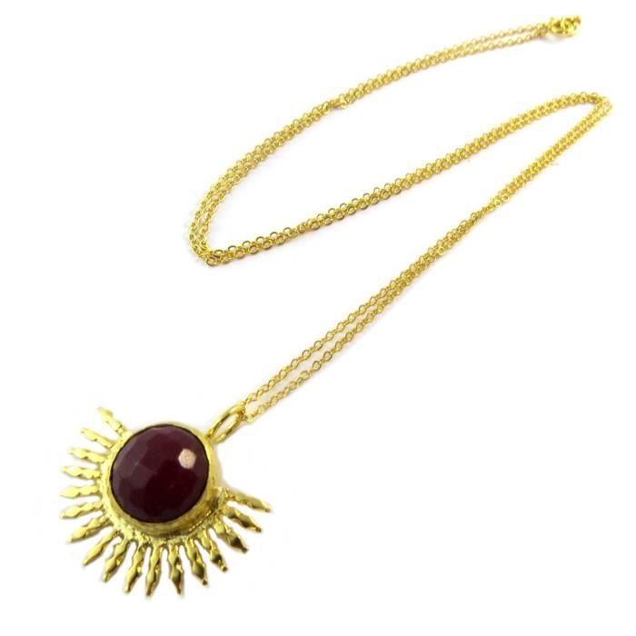 Collier artisanal plaqué or Princesse Ottomane rouge doré [P2302]