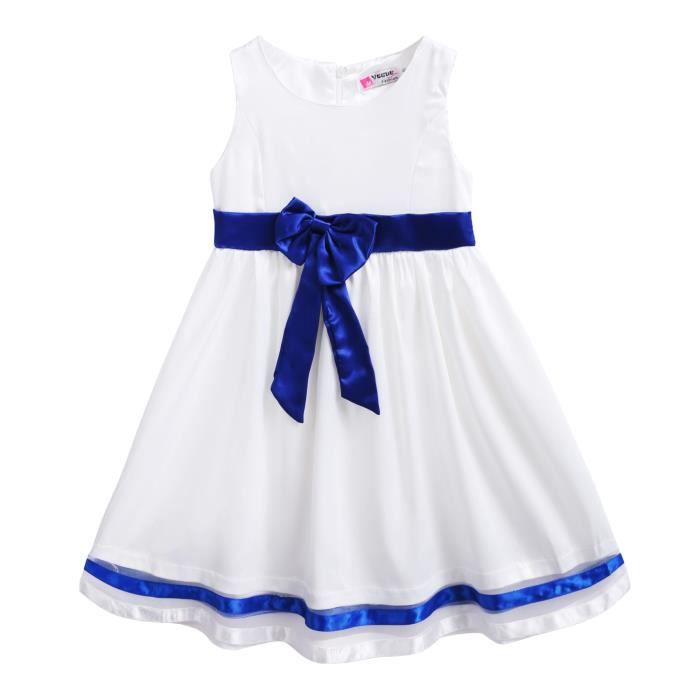 Robe fille Arshiner sans manches taille haute AU-cou Bowknot Splice a-line robe