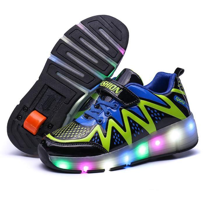 Heelys Enfants Chaussures à Roulettes LED lumineux clignotant Garçons Filles Mono-roue Basket Skate ®KIANII