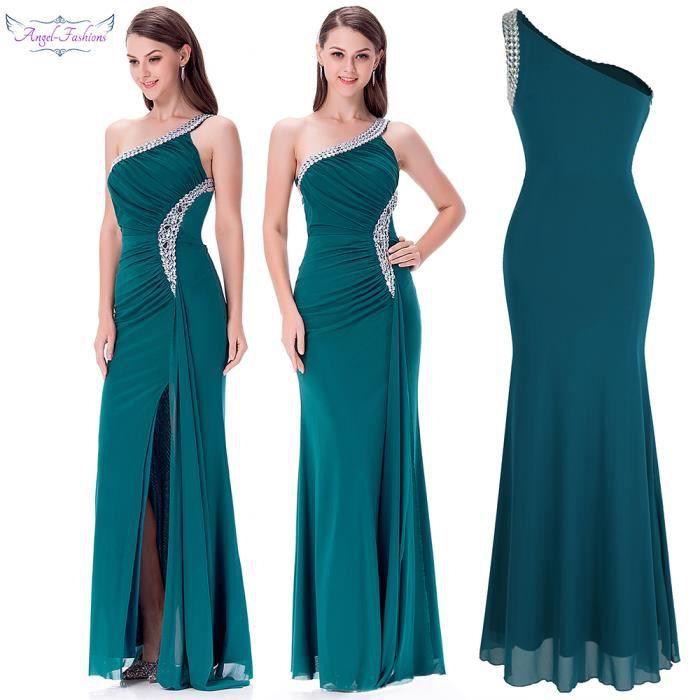 fb05e1cef68 Angel-fashions Women s Une épaule Plissé Perlage Extensible Fête Les robes
