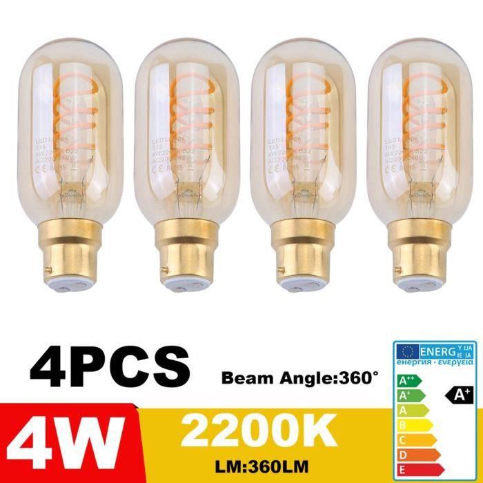 T45 Souple Vintage 2200k 240v Led Ampoule 4w Style Verre Edison 4pcs Ambré Filament B22 qUFwE1T