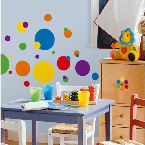 roommates rmk1248scs stickers muraux ronds multicolores. Black Bedroom Furniture Sets. Home Design Ideas