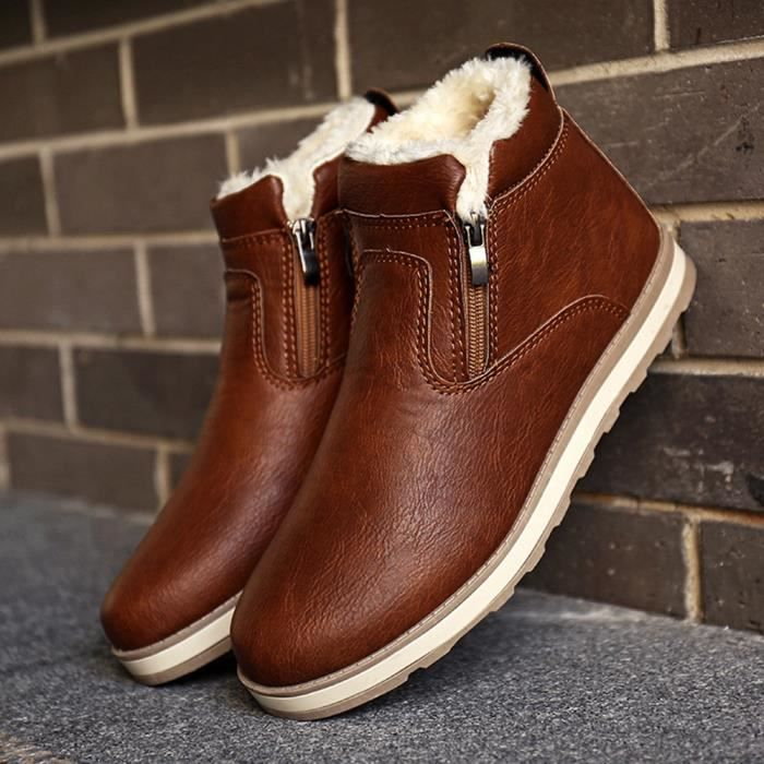 Hommes Hiver Chaud Bottes Chaussures Décontractées Bottes de neige en peluche BWmarron XKO852 V7MMpyGC