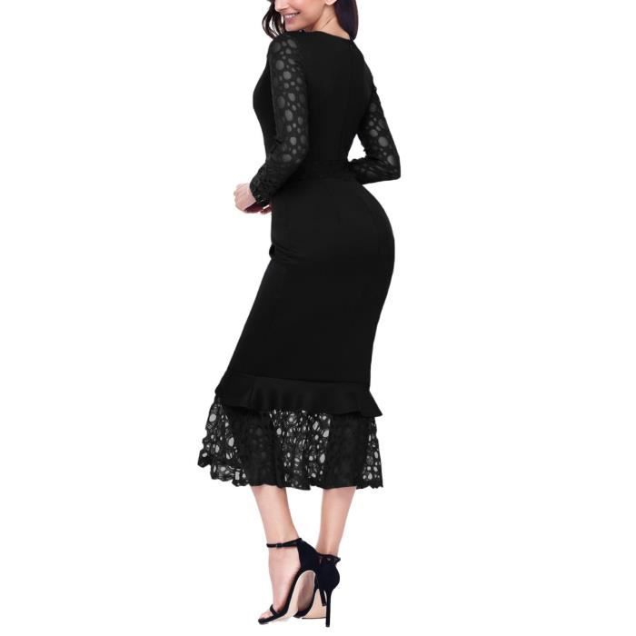 Womens Hollow-out Long Sleeve Lace Ruffle O-neck Bodycon Party Cocktail Prom Midi Dress 2II29K Taille-32