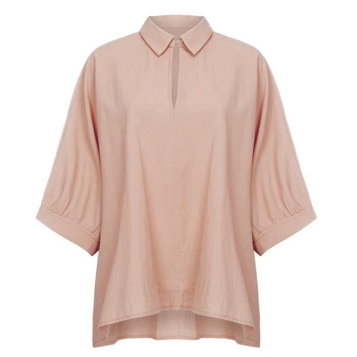 Haut Solide shirt T Chemisier Bat Lapel Casual Femmes sleeve Demi Col V En Couleur 57P6q