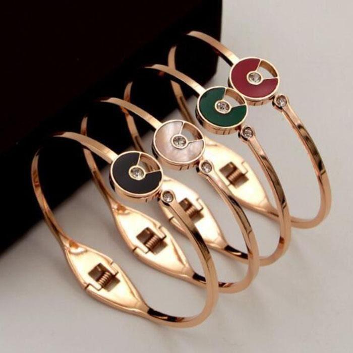 Bracelet femme Plaqué 18k or rose Lacier au titane ne se fane pas bijoux féminins(Rose dor + rouge)