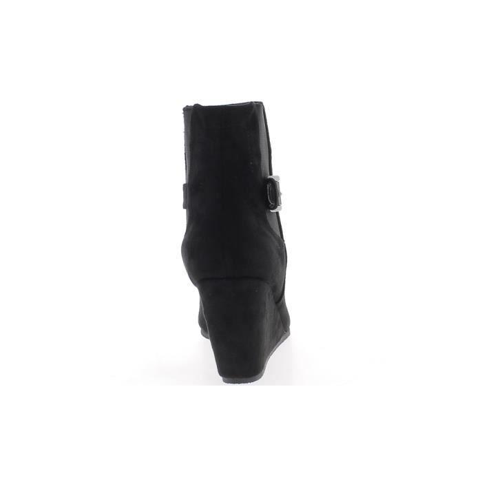 Bottines compensées femme grande taille noires à talon de 9 cm aspect daim