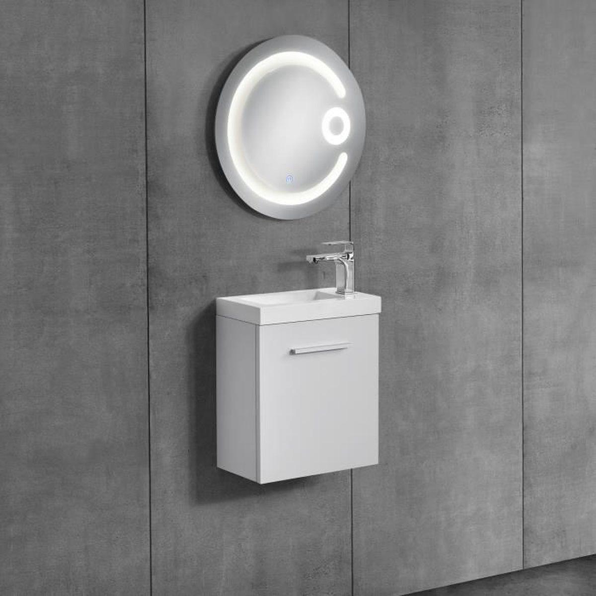 armoire de toilette avec lavabo blanc miroir 80cm achat vente colonne armoire sdb. Black Bedroom Furniture Sets. Home Design Ideas