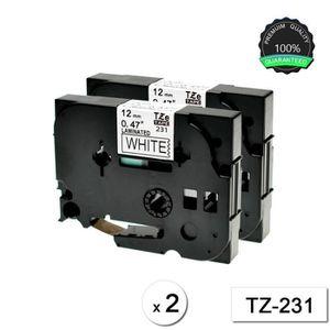 RUBAN - ENCREUR TZ231 12mm x 8m Lot de 2  Ruban Cassette Compatibl