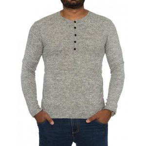 T-SHIRT T shirt boutonné homme gris manches longues à la m