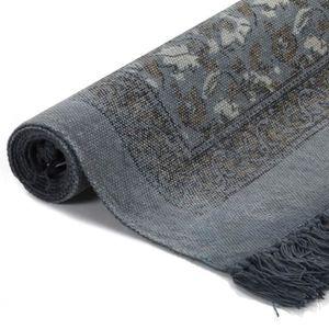 TAPIS Tapis Kilim Coton 120 x180 cm avec motif Gris Déco