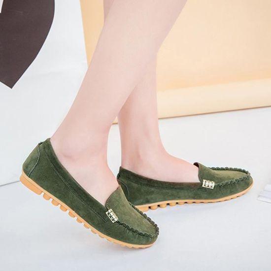 Ballerines Ladies Comfy femmes Chaussures souple Slip-On Chaussures bateau Casual  armée verte  Armée verte - Achat / Vente slip-on