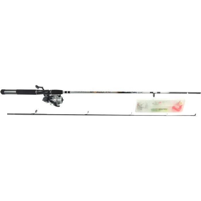 Canne à pêche combo lancer - 2 Brins - Verre creux - 2,10 m