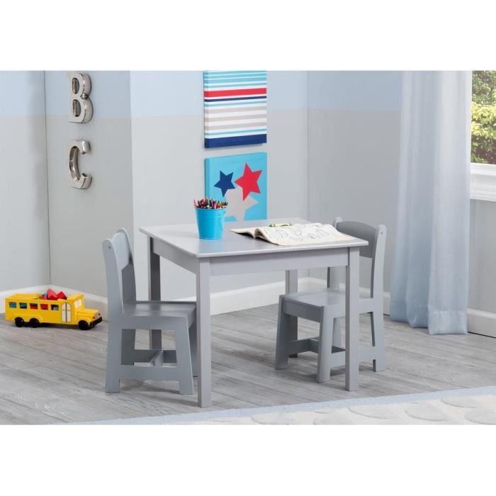 DELTAKIDS - Table et 2 Chaises Bois Enfant - Gris