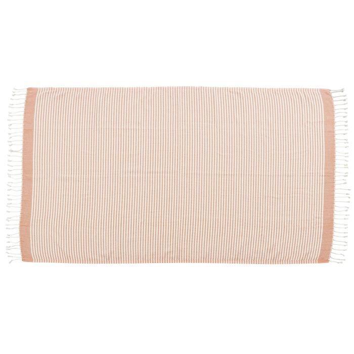 DONE Plaid LOUNGE STRIPES - Composition : 100% Coton - Coloris : ORANGE - Dimensions : 100x180cmCOUVERTURE - EDREDON - PLAID