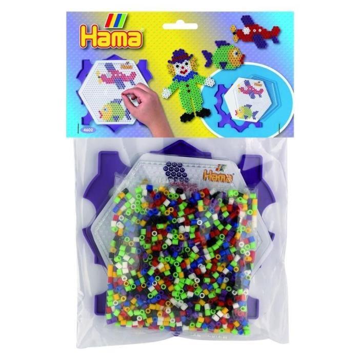 HAMA Sachet de perles moyennes   Kit cadre plaque hexagonale