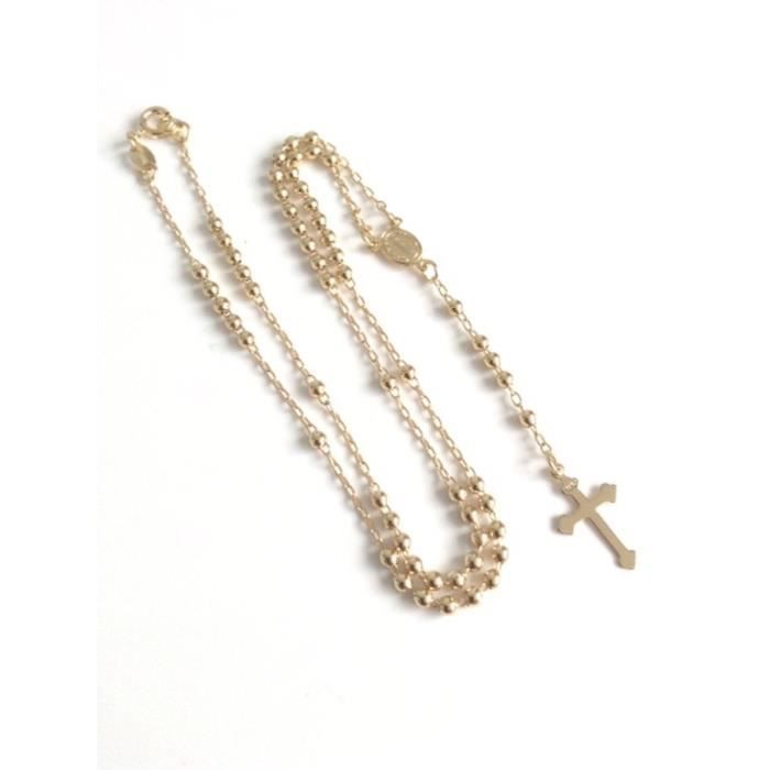 Womens Rosary Beads Catholic Necklace For Woman 18k Gold Plated Chain Cross Pendant ZNM2P