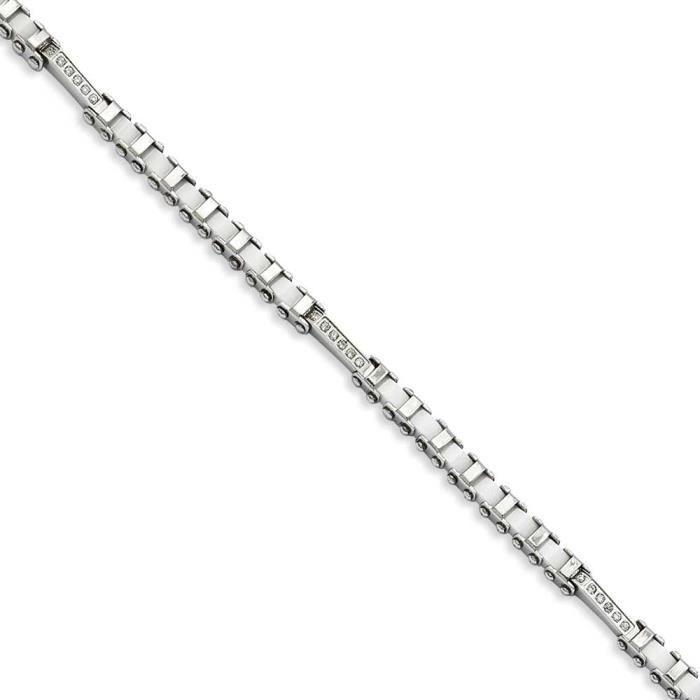 En acier inoxydable avec céramique blanche CZs Bracelet 19 cm