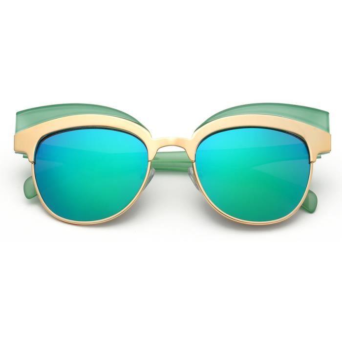 YKS fashion 604 chat lunettes de soleil réfléchissantes cadre vert mercure vert