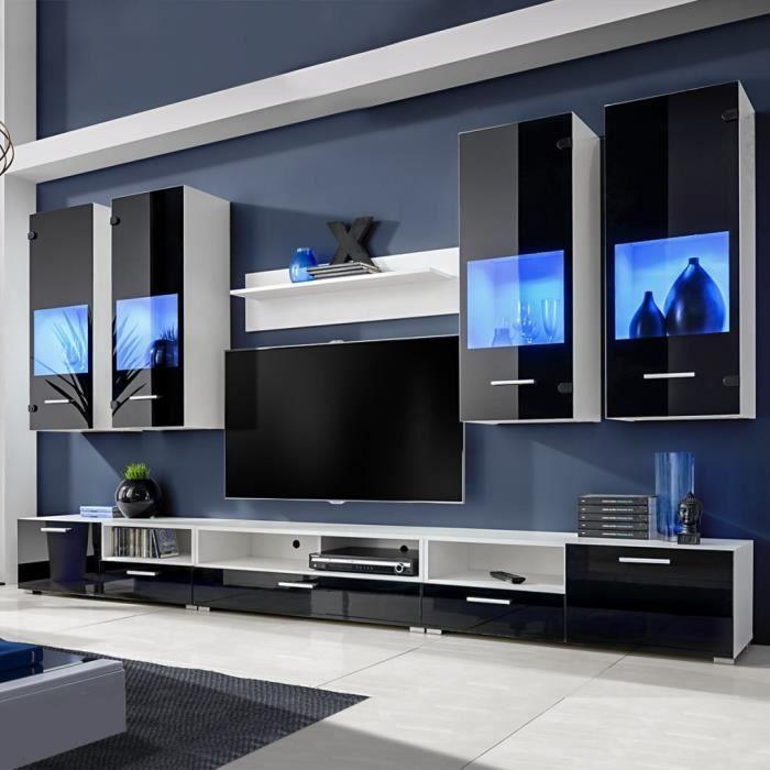 P10 Meuble Tv A Vitrine Murale Noir Avec Lumiere Led Bleu 8 Pieces