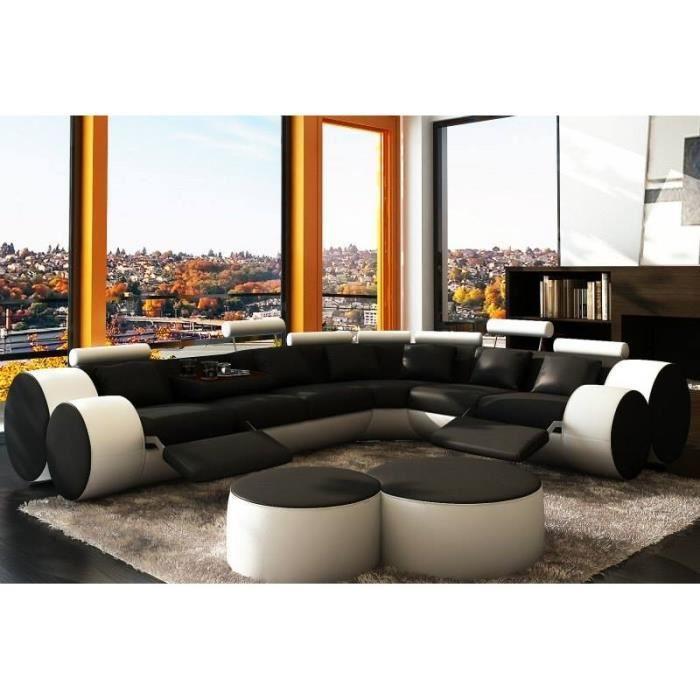 Canape D Angle Design Relax Noir Et Blanc En Cuir Achat Vente