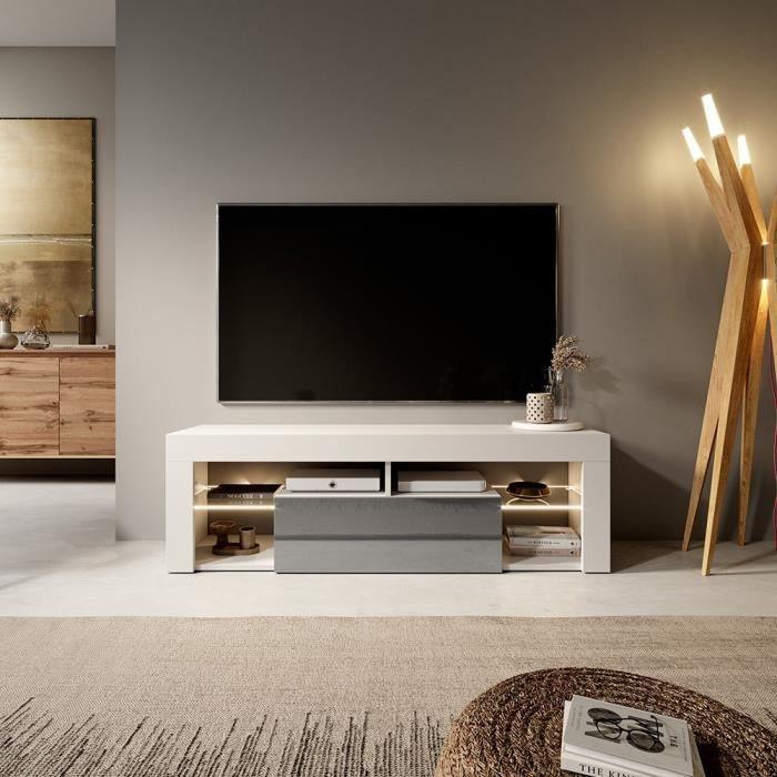 meuble tv led gris achat vente meuble tv led gris pas cher cdiscount. Black Bedroom Furniture Sets. Home Design Ideas
